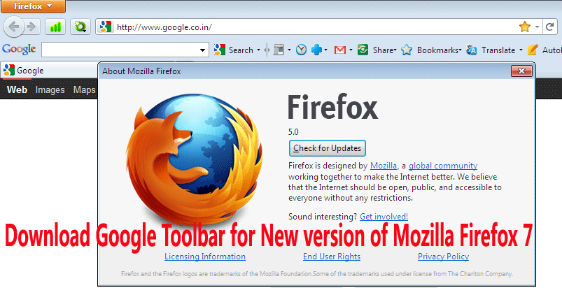 Download Google Toolbar for New version of Mozilla Firefox 7